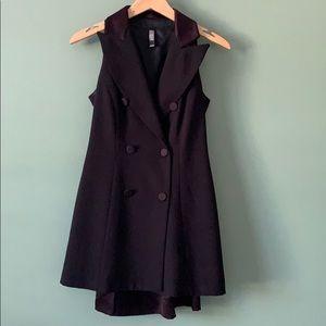 Laundry Black Tuxedo Satin Lapels Blazer Dress